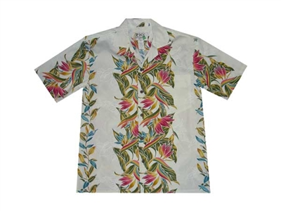 KYs Mens Creme Bird Of Paradise Aloha Shirt