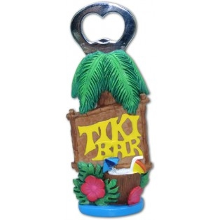 Bottle opener decorated with tropical flowers, a drink in a coconut, thatch roof and of course a Tiki Bar Sign!
