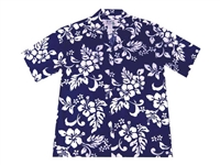 Mens blue Aloha shirt with a traditional blue and white hibiscus flower print allover the shirt.
