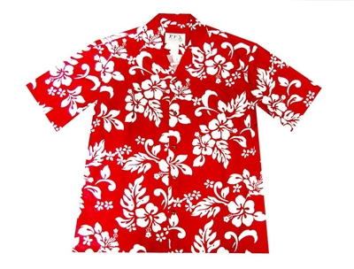 Mens red Aloha shirt with a traditional red and white hibiscus flower print allover the shirt.