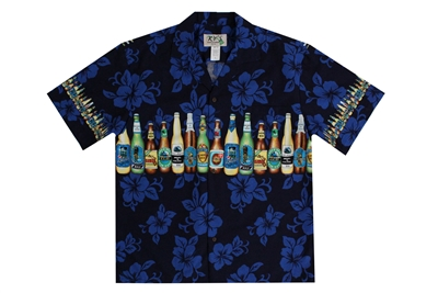 Mens Blue Aloha shirt with multiple brands of beer bottles on the chestband, back, and sleeves