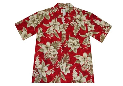 Womens red Aloha shirt with hibiscus flowers and flora