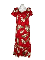 Womens long Hawaiian muumuu dress with white orchid flowers and leaf allover