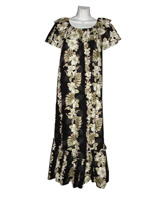 Womens traditional long black Hawaiian muumuu dress with a vertical hibiscus flower and banana leaf design