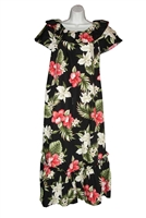 Womens long Hawaiian muumuu dress with multi-color tropical flowers allover
