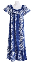 Womens long blue Hawaiian muumuu dress with a marble pattern and vertical white hibiscus flowers