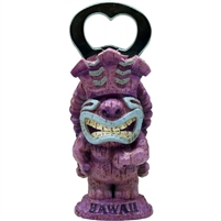 Purple tiki bottle opener named imuna, big smile, wearing a crown with long hawaiian hair. The tiki statue opener stands upright and has the word hawaii on the base.