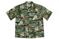 Mens Green Aloha Shirt with Woodie Cars