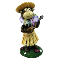 Hula Monkey dashboard doll playing a ukulele and wearing a multicolor Hawaiian lei