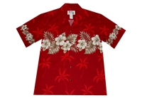 KYs red mens Aloha shirt with hibiscus flowers on sleeves, chest-band and back