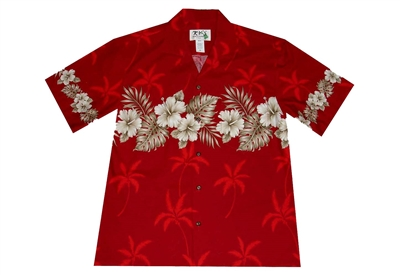 KYs Red Hibiscus Chest-band Hawaiian Aloha Shirt