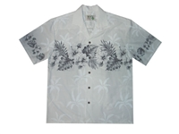 mens white aloha shirt with black leafs and flowers on chestband, back and sleeves