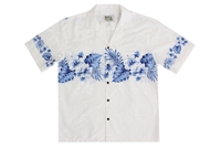 Mens white Aloha shirt with navy blue leafs and flowers on chestband, back and sleeves