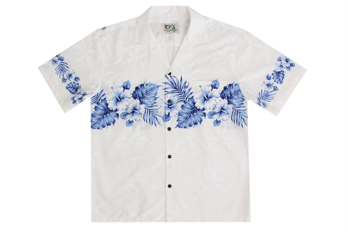 KY's Men's Navy Blue and White Aloha Shirts