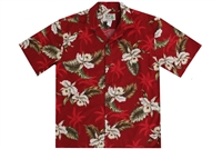 Red men's Aloha shirt with brighter red silhouettes of palm trees, with attractive white orchid flowers allover and foliage in differing hues of green.