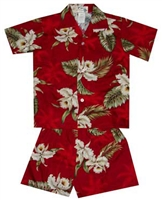 Boys red cabana set with white orchid flowers and green leaf in a allover print