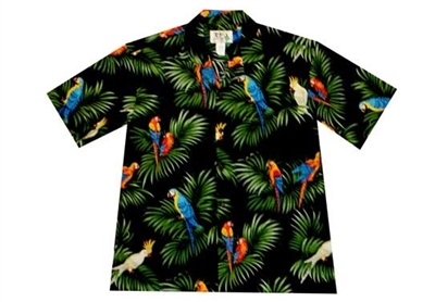 Mens black Aloha shirt with multicolor parrots perched on leafs