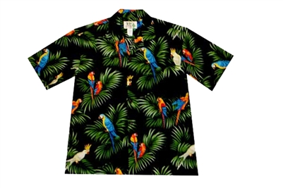 KYs Womens Black Aloha Shirt with Parrots