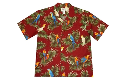 Mens red Aloha shirt with multicolor parrots perched on leafs