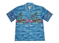 KY's blue mens Aloha shirt with Pink Flamingos on the chest-band, back, and sleeves