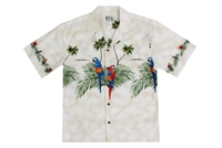 Mens creme Aloha shirt with multicolored parrots on the chestband, back and sleeves