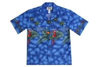 Mens blue Aloha shirt with multicolored parrots on the chestband, back and sleeves
