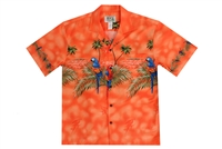 Mens orange Aloha shirt with multicolor parrots on chestband, back and sleeves