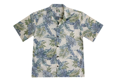 Mens blue green tropical leafs on a cream background in a reverse print Aloha shirt