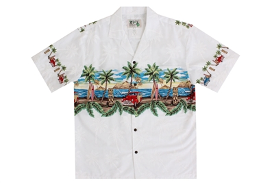 Mens white Aloha shirt with a red Woody car on a beach lined with palm trees on the chestband, back and sleeves