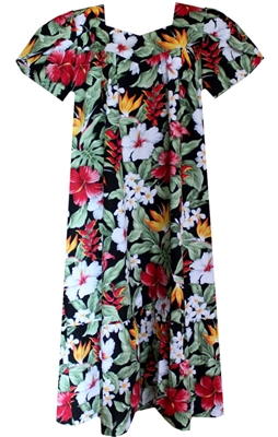Womens black mid-calf length Hawaiian muumuu dress with multi-color tropical flowers and foliage allover