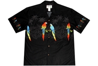 Mens black Aloha shirt with a breathtaking tropical parrot design over a silhouetted jungle, perfectly matched at the button line.