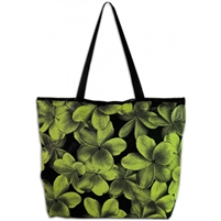 Green Plumeria Beach Bag