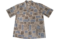 Sand colored mens Aloha shirt with Honu and block print tattoos in blue, gold and brown colors.