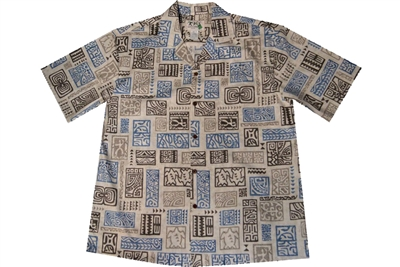 Sand colored mens Hawaiian Aloha shirt with Honu and block print tattoos in blue, gold and brown colors.