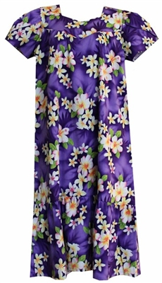 Womens purple mid-calf Hawaiian muumuu dress with pink and white hibiscus flowers
