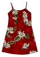 KYs Girls Red Orchid Hawaiian Dress