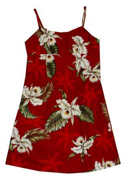 24fa5bc68591 KY's Girls Red Orchid Hawaiian Dresses