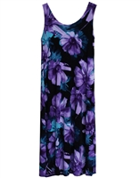 Long sleeveless long tank dress with bold, beautiful colorful blue and purple flowers on black material