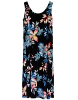 Sleeveless long tank dress with colorful pink, orange, and blue paradise flowers and colored ferns and monstera leaf on black material