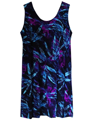Short sleeveless tank dress with splashes of blue and purple that resemble flowers on black material