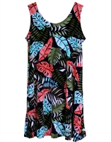 Sleeveless short tank dress with coral, turquoise, and green colored ferns and monstera leaf in a allover print on black material