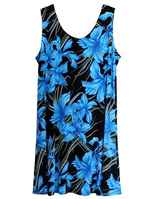 Short sleeveless tank dress with vividly colored turquoise flowers in a allover print design on black material.