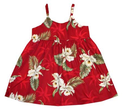 KYs Childrens Red Orchid Hawaiian Dress
