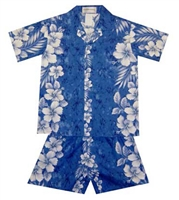 Boys blue cabana set with a marble fabric design with hibiscus flowers running vertically