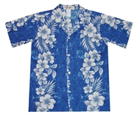 Boys blue Hawaiian shirt with a marbled fabric and hibiscus flowers in a vertical print