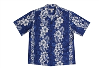 Milson Mens Blue Waikiki Beach Aloha Shirt