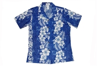Milson marbled womens blue Aloha shirt with hibiscus flower and leaf