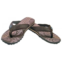 Mens Tribal Flip Flops - Brown