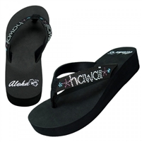 Womens Rhinestone Hawaii Black Flip Flops
