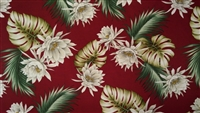 Red Cereus Cotton Hawaiian Fabric